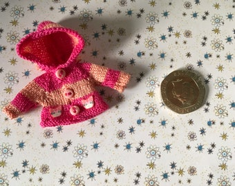 Dolls house Miniature 1/12th knitted baby doll hoody jacket