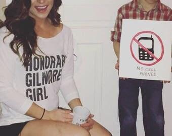 Gilmore Girls inspired  3/4 Sleeve Off the Shoulder Raglan Women's / design Honorary Gilmore Girl Shirt - Ink Printed