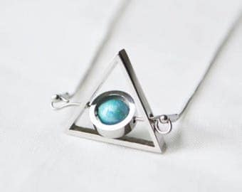 Tiffany blue triangle double turn necklace