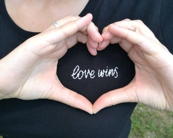 Love Wins Hand Embroidered Cotton T-shirt