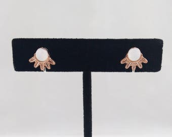 1 Pair of Gold-Tone Sun Stud Invisible Clip On Earrings