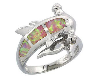 Sterling Silver Pink Opal Hammerhead Shark Statement Ring