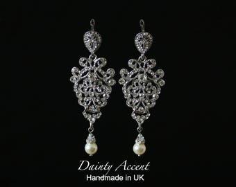 Chandelier Bridal Earrings, Crystal and Pearl Wedding Earrings, Vintage Style Wedding Earrings