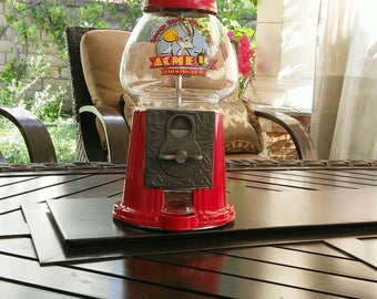 vintage gumball machine Bugs Bunny, coin operated red metal & glass bubble gum dispenser,Acme Chewing Gum,Taiwan,mancave decor,birthday gift