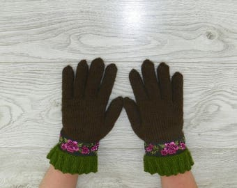 Knitted fingered gloves Broun gloves Knit gloves Knit fingered gloves Handmade gloves  Women's and Girl's gloves Warm gloves Winter Spring