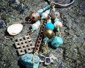 Turquoise and Magnesite Gold Zen Keychain