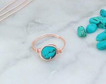 Rose Gold Turquoise Ring - Turquoise Gemstone Ring - Rose Gold Ring - Boho ring