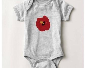 Summer Red Hibiscus Baby Bodysuit_Heather Grey