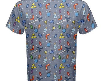 Zelda Items Tshirt - Zelda Mens Cotton T-Shirt Zelda Tshirt Ocarina Tshirt Videogame Tshirt Geeky T-Shirt  Cosplay T-shirt Boomerang Tshirt