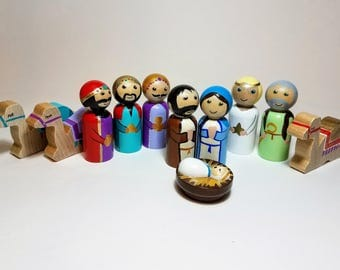 Peg Doll Nativity Set, 11 Piece Wooden Nativity Scene, Toy Nativity, Hand Painted Wooden Nativity Figurines, Holiday Decor