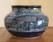 Handmade, wheel thrown, blue, unique, decorative vase