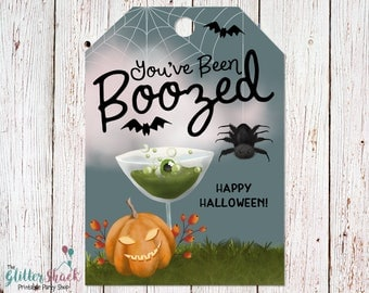 PRINTABLE You've been Boozed Gift Tags, You've Been Booed Halloween Printable, Halloween Tags, Halloween Favors, Halloween Liquor Wine Tags