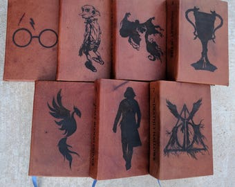 NEW-Leather Bound and Lasered Hardback Harry Potter Book Set- U.S. Edition