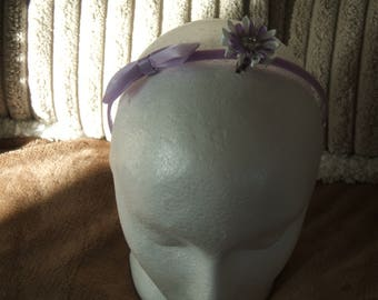 Alice band/ headband plain lilac with bow and a kanzashi flower hair clip