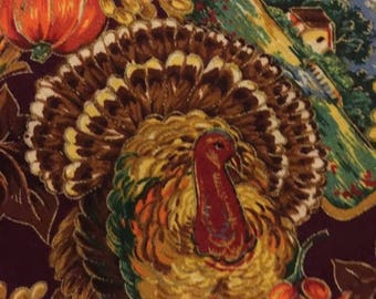 CLEARANCE Vintage Thanksgiving themed small table covering or decorative accent