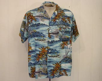 Vintage 1960s shirt, Hawaiian shirt, 1960s shirt, vintage clothing, Large