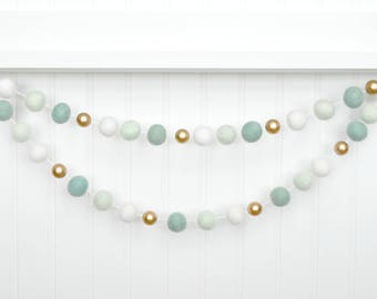 Mint and Gold Baby Shower, Gold and Mint Nursery Decor, Mint Gold Bunting, Mint Party Decor, Mint Decor, Mint and White Felt Ball Garland