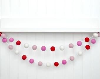 Valentines Day Decor, Valentines Felt Ball Garland, Pom Pom Garland, Valentines Wall Hanging, Valentines Banner, Valentines Felt Banner