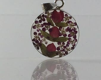 Round dried flower resin & silver pendant