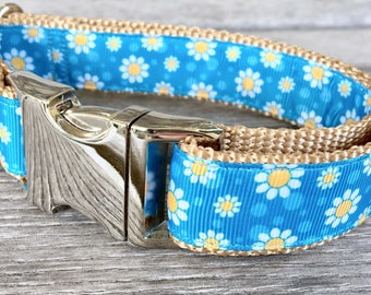 "Floating Daisies 1"" Wide Dog Collar, Blue Flower Dog Collar"