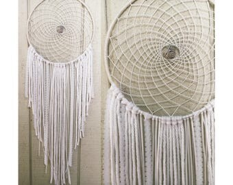 Large All White Bohemian Dreamcatcher With Howlite Stone