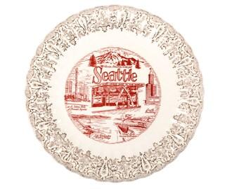 FREE SHIPPING: Rare MidCentury Seattle Souvenir Plate - Red Transferware Pre-1962 World's Fair Dish