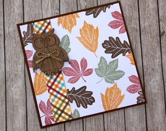 Autumn card with wooden owl