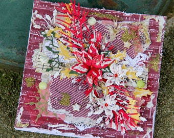 Shabby chic Christmas card with handmade poinsettias