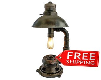 Etsy gifts industrial pipe Lamp Steampunk light Fixtures steampunk Industrial lamp Rustic lamps Loft lamps Industrial Edison lighting lamps