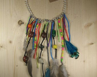 """Necklace """"cascade of feathers and multicolor beads"""""""
