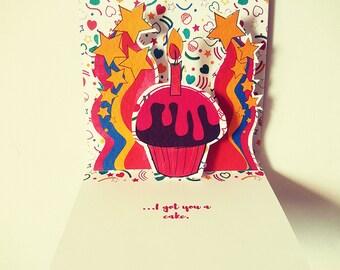 Birthday Card, Pop Up Card, Cupcake Birthday Card, Pink Birthday Card