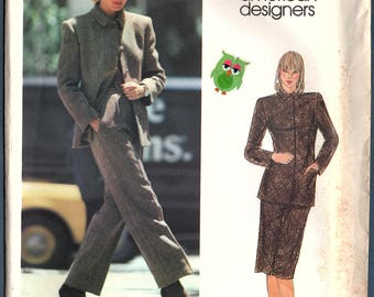 Vogue 2594 Misses Lined Jacket, Straight Skirt and Pants Sewing Pattern Vintage 70s Vogue American Designer Calvin Klein,  Size 14 Uncut