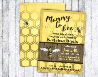 Mother to bee invitation printable baby shower card for new mommy in rustic gold and yellow