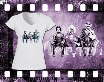 Arte inspirado en Cast - Beetlejuice, Eduardo Manostijeras de Tim Burton y Jack Skellington - camiseta de las señoras blanca original