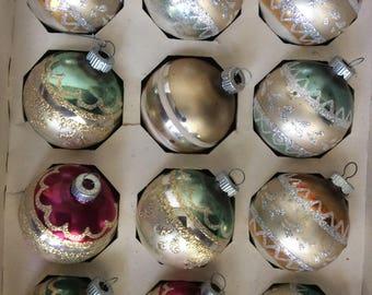 Box of 12 Shiny Brite Glitter Stenciled Ornaments in Original Box