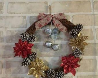 Christmas wreath, holiday wreath, christmas decoration, poinsettias