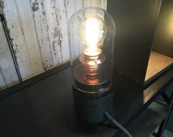 Globe glass steel and wood lamp
