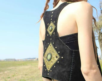 Handmade Leather Vest with two green onyx stone Tribal*elf*pixie*enchanted*festival*suede*unique