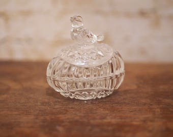 Pressed Glass Bird and Egg Trinket Box