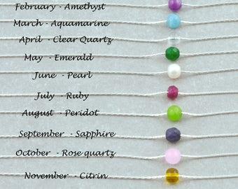 Simple Birthstone Necklace, Dainty Gemstone Choker, Short Everyday Necklace, Gemstone Necklace, 14k Gold Fill, Sterling Silver