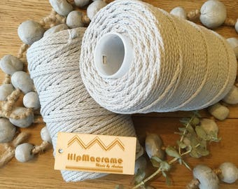 Gorgeous silver-grey braided cotton cord 3mm