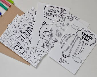 Thank You Coloring Card Set, Snail Mail,  For Kids, Set of 5 Designs, Instant Download