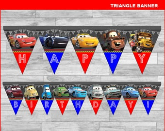 Disney Cars 3 triangle Banner Instant download, Cars Chalkboard Banner, Disney Cars party banner