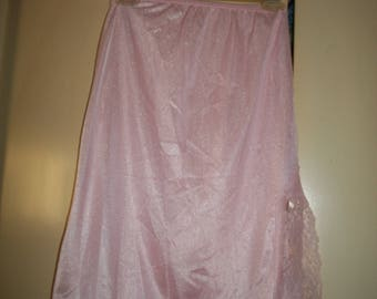 Vintage Pink Lace Trim Half Slip Size Small