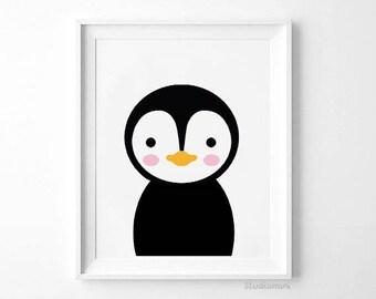 PENGUIN WALL PRINT, nursery Wall Art Print, Penguin Drawing Printable, Nursery Happy Penguin Print, Animal Clipart, Nursery Gift Print,black