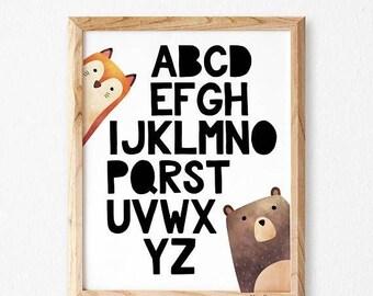 Alphabet Wall Art, Studio M,Alphabet Poster, Alphabet Print, ABC Wall Art, Animal Nursery Art, Alphabet Nursery Print, Animal art, Nursery