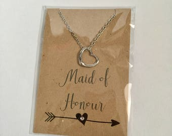 Maid of Honour Heart Necklace Thank You Gift Silver Plated