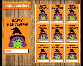 Witch Thank You Tags - Halloween Tags - Halloween Favor Tags - Halloween Gift Tags - Halloween Labels - Halloween Treat Tags