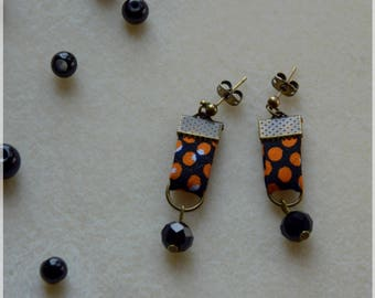 Orange and black earrings made from African fabric