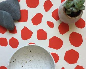"Pebbles table runner - Tablescape, Table Decor, Table Runner Handmade, screen printed in  red, Pebble Runner, 14 x 54"""